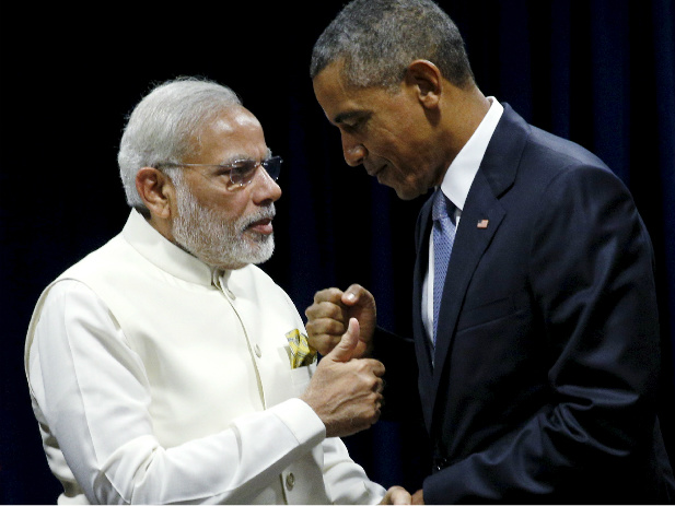 U.S. President Barack Obama shakes hands with Indian Prime Minister Narendra Modi during their meeting at the United Nations General Assembly in New York on September 28, 2015 (Kevin Lamarque/Reuters).