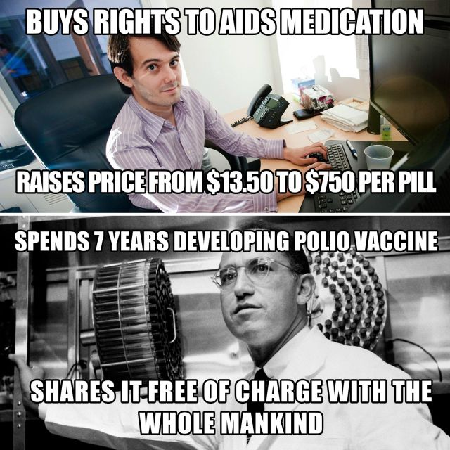 Shkreli's actions provoked a massive shitstorm in social media - including this comparison with Jonas Salk, inventor of the polio vaccine